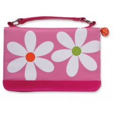 Bible Cover-Microfiber Daisy with Zipper Pocket-Large-Pink