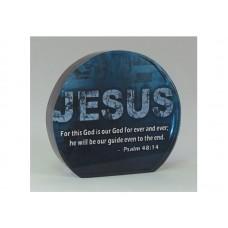 ROUND CRYSTAL BLOCK JESUS, PSALM 48:14