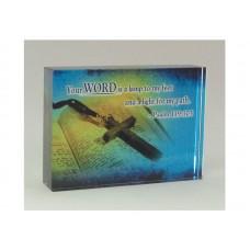 RECTANGULAR CRYSTAL BLOCK YOUR WORD, PS 119:105